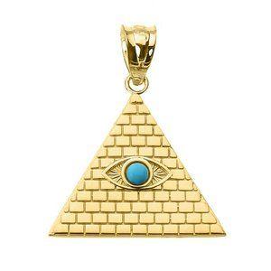 14K Real Gold Pyramid Turquoise Evil Eye Pendant